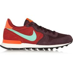Nike Internationalist suede, leather and mesh sneakers (€91) ❤ liked on Polyvore featuring shoes, sneakers, burgundy, red leather sneakers, nike trainers, grip trainer, red shoes and leather lace up sneakers