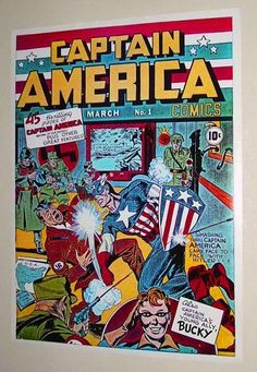 Vintage original 1980's Marvel Comics Captain America #1 1941 cover art pin-up poster: Cap vs Nazi Adolph Hitler with artwork by Jack Kirby