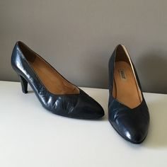 Vintage Navy Bally Heels Sophisticated & cute 80's heels. Some wear to the leather and nicks on both heels, but have lots of life left. Marked a UK 8, fits a US 10. Bally Shoes Heels