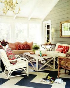 thedecorista:    lovely + boho    ideal sunroom, just maybe striped flooring?