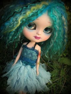 Meribelle - custom Icy girl with blue/green mohair reroot and some colorful tats