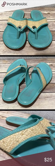 LILLY PULITZER Sea Green Leather Straw Flip Flops The lighting in the photos makes these look more worn than they actually are. These are in good shape with lots of life left. Lilly Pulitzer Shoes Sandals