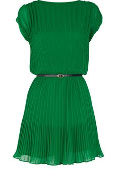 Pleated Belted Dress in emerald green