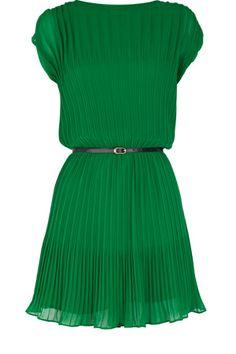 green pleats