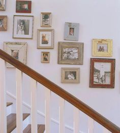 Use Family Photos  Turn a blank stairway all into a display of treasured family photos. Print the pictures in sepia or black and white to give the photo an older feel. Use a variety of image sizes and display inside weathered or antiqued frames.