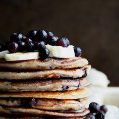 Blueberry Banana Greek Yogurt Pancakes Recipe Breakfast and Brunch with plain greek yogurt, bananas, rolled oats, large egg whites, unsweetened almond milk, baking powder, vanilla extract, fresh blueberries