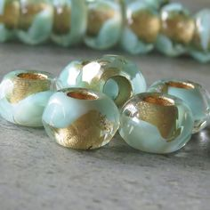 Mint Gold 12mm Czech Glass Roller Bead : 6 pc Green Gold Large Hole Bead from BobbiThisnThat on Etsy Studio
