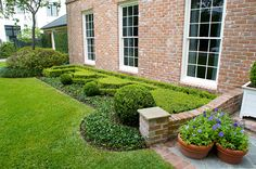 Close up of formal front garden. Symmetry and geometric hedging reinforces the english style of this home. Terra cotta pots hold purple petunias.