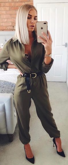 #winter #outfits olive-green jumpsuit. Pic by @inthestyle.