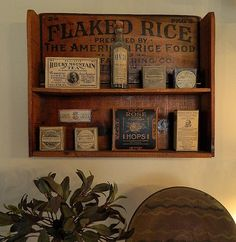 I just love the shelf, looks like it was made from an old crate side and the shelves added.  Vintage Apothecary Herbs