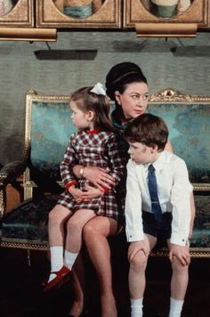Princess Margaret poses with her children Lord Linley and Lady Sarah Armstrong-Jones. Royal Princess, Princess Charlotte, Princess Eugenie, Lady Sarah Armstrong Jones, David Armstrong, Lady Sarah Chatto, Queen And Prince Phillip, Margaret Rose, Hm The Queen