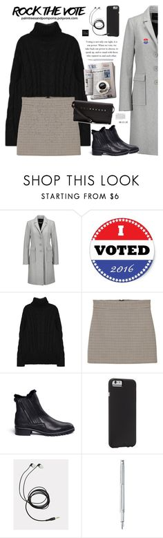"""""""Rock the Vote in Style / MANGO Houndstooth Skirt"""" by palmtreesandpompoms ❤ liked on Polyvore featuring Maje, MANGO, Stuart Weitzman, Case-Mate, Caran D'Ache, RED Valentino, mango and rockthevote"""