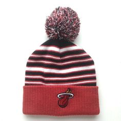 878862a0a6a NBA Miami Heat Boys Knit Beanie Hat with Pom Striped Burgundy Size 4 7   adidas