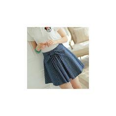 Polka Dot A-Line Skirt ($22) ❤ liked on Polyvore featuring skirts, women, knee length a line skirt, dot skirt, blue skirt, polka dot skirt and a line skirt