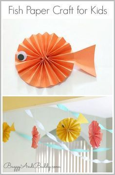 Fish Paper Craft for Kids: Use construction paper to make these 3-D paper fish! Perfect for an ocean unit or fish themed birthday party! ~ BuggyandBuddy.com