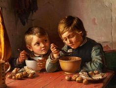 Two Boys At Dinner by Michael Ancher - Danish   (+++)
