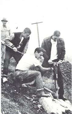Students use a jackhammer to break up the original Oregon O on Skinner's Butte. From the 1954 Oregana (University of Oregon yearbook). www.CampusAttic.com