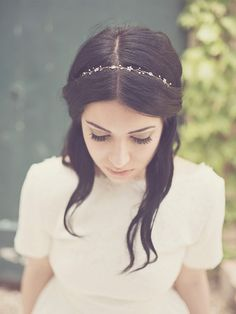 Bridal crystal hair vine, simple flower headband, forehead jewelry headpiece, something blue hairpiece, bride hair jewelry - Style 334