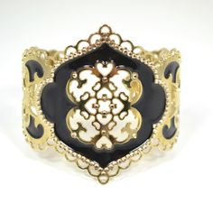 JJ Caprices - Black Enamel and Lace Cuff by LK Designs