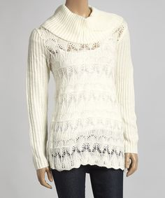 This United States Sweaters Cream Ribbed Cowl Neck Sweater by United States Sweaters is perfect! #zulilyfinds