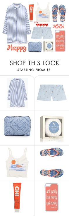 """""""Happy Chic"""" by bysc ❤ liked on Polyvore featuring Zara, Paul & Joe, LeSportsac, Bulgari, Billabong, Roxy, CHI, CellPowerCases, women's clothing and women"""