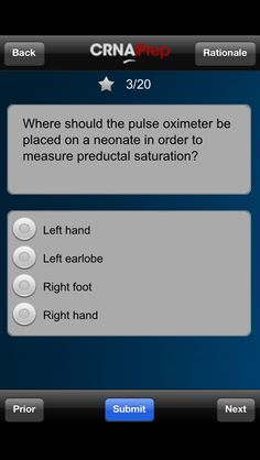 Get over 200 questions like this on the CRNAiPrep App! Download from iTunes.com.