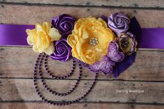 Purple and Yellow Sash Maternity Sash Flower by darlingbowtique, $31.49