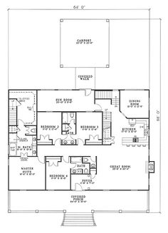 First Floor Plan of Country   Southern   House Plan 62067