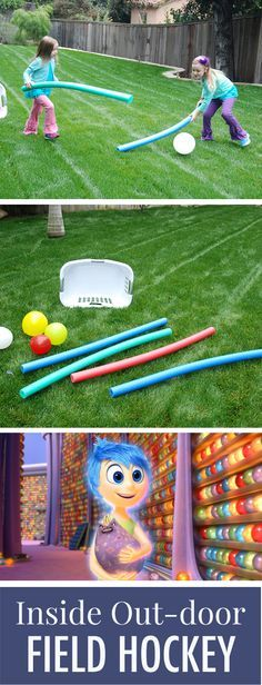 INSIDE OUTdoor Field Hockey Turn your backyard into your very own Inside Out playground. Inspired by Riley's love of hockey, this game of outdoor field hockey uses items you already have in your home: pool noodles, balloons, and laundry baskets. Activity Games, Fun Games, Activities For Kids, Team Games, Camping Activities, Indoor Activities, Sleepover Activities, Party Activities, Sports Games