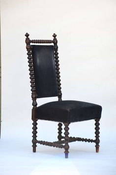 Whimsical Ebonized Turned Wood Baroque Side Chair image 3