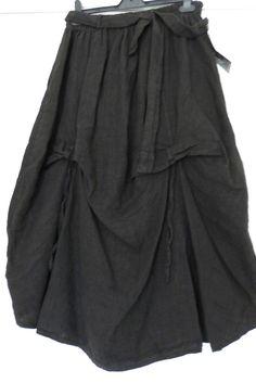 GORGEOUS BLACK SARAH SANTOS PARACHUTE BLACK 100% LINEN SKIRT SZ XL