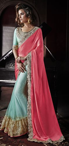 d8a800148fa32 Designer Party Wear Pink and light Blue Colour Georgette Saree at  67.40  visit at http