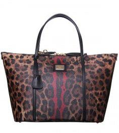 Dolce & Gabbana Textured Leopard Print Leather Large Shopper Bag