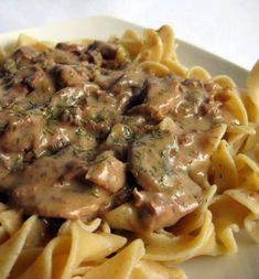 """""""This is an easy variation of a favorite. I used to prepare it the traditional way, with sour cream, but I didn't have any one night, so I used cream cheese instead. My husband and"""