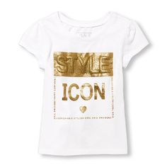 Toddler Girl Short Sleeve Glitter Puff 'Style Icon' Graphic Tee