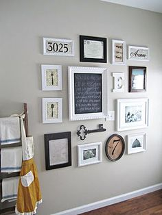 gallery wall with photos, momentos & art | perfect for small house decorating | family photos