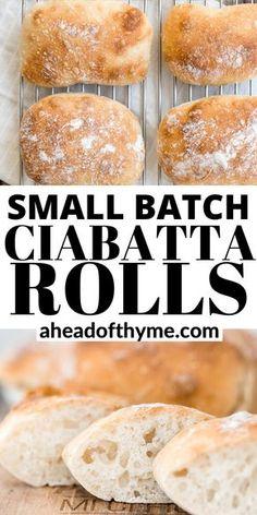 Bread Bun, Easy Bread, Bread Rolls, Small Batch Baking, No Knead Bread, No Knead Ciabatta Bread Recipe, Bread Baking, Baking Recipes, Artisan Bread Recipes