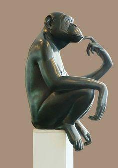Sculpture animalier Bonobo, Florence Jacquesson - Art-animalier.fr