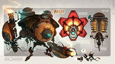 The Boiler -Illustration of a robotic enemy from the video game Ratchet and Clank, from the Creature Box on deviantART