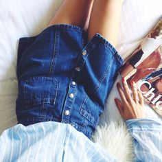 Jeans skirt and a shirt - perfect combination!