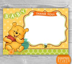 Baby Winnie the Pooh Thank you cards - Printable Baby shower Birthday thank you cards - INSTANT DOWNLOAD