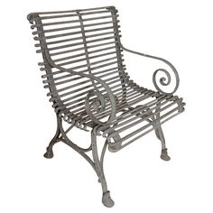 1930's English Painted Iron Garden Chair | From a unique collection of antique and modern garden furniture at https://www.1stdibs.com/furniture/building-garden/garden-furniture/