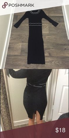Black knit sweater dress Super stretchy black knit sweater dress with back slit, size small could also fit xs Dresses Midi