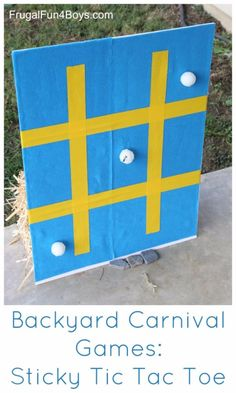 Best DIY Backyard Games - Sticky Tic Tac Toe - Cool DIY Yard Game Ideas for Adults, Teens and Kids - Easy Tutorials for Cornhole, Washers, Jenga, Tic Tac Toe and Horseshoes - Cool Projects for Outdoor Parties and Summer Family Fun Outside http://diyjoy.com/diy-backyard-games