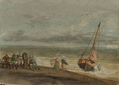 Joseph Mallord William Turner 'Fishermen Hauling a Boat through Surf on a Windlass',   --  From Drawings Related to the 'Studies near Brighton' and 'Wilson' Sketchbooks, and Other Subjects  --  1796–7 -  Watercolour and gouache on paper -  Dimensions Support: 194 x 269 mm -  Collection -  Tate