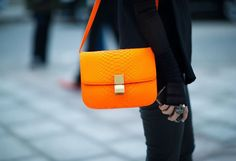 Celine Flou Orange Python Flap/Box Bag for that pop of color.