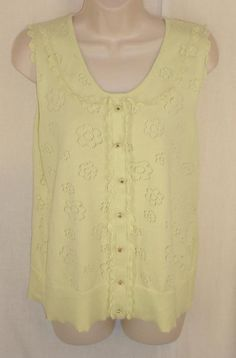 52107f76f68af Anthropologie Top XL SLeeveless Open Weave Flowers Pale Green Scallop Trim  Knit  HWRAntrhopologie  KnitTop