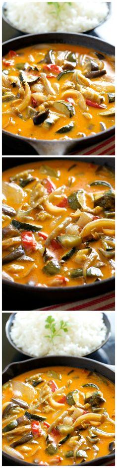 20 Minute Roasted Veggie Thai Curry via wholeyum: Healthy never tasted so good. #Curry #Veggie #Healthy #Fast