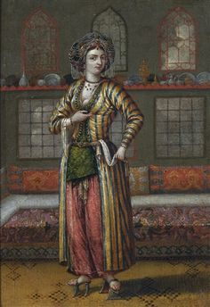 'A noble lady of Constantinople wearing hamam shoes' by Jean Baptiste Vanmour – Ottoman, early century. The (Flemish) painter lived in Istanbul from 1699 until his death in and had access to the highest Ottoman circles. Antoine Laurent, Portrait Photos, Portraits, Empire Ottoman, Ottoman Turks, French Paintings, Jean Baptiste, Historical Costume, Islamic Art