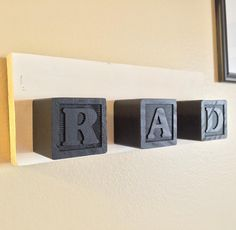 Dip baby blocks for a DIY wall decoration. This one's pretty rad, wouldn't you say? Red Y, Baby Blocks, You Are Perfect, Diy Wall Decor, Flip Clock, Seasonal Decor, Beetle, Door Handles, Mosaic